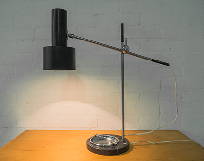 Vintage desk lamp with ashtray and marble foot