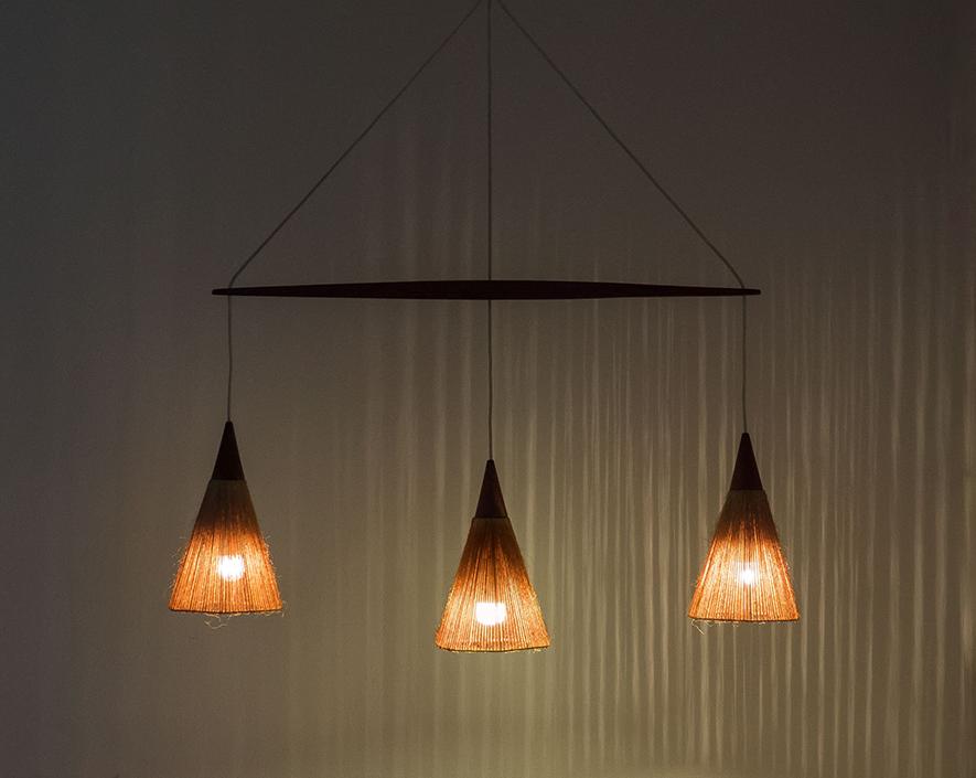 Temde Leuchten triple light hanging lamp