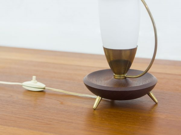 VINTAGE DANISH BRASS, TEAK AND GLASS TABLE LAMP