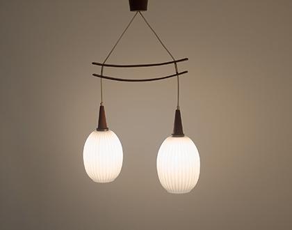 Vintage teak and opaline hanging lamp
