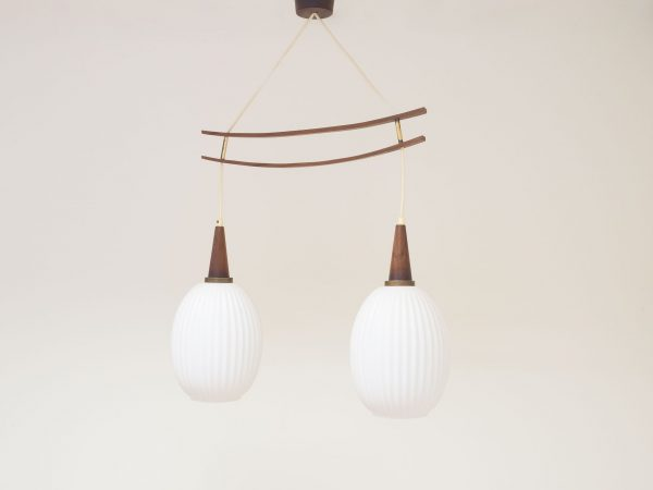 VINTAGE GLASS, TEAK AND BRASS PENDANT LIGHTS