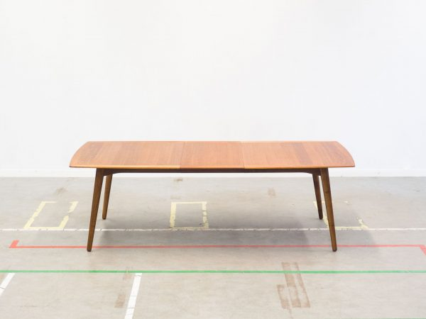 DANISH MODERN EXTENDABLE WALNUT DINING TABLE