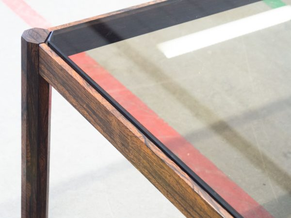 VINTAGE ROSEWOOD AND SMOKED GLASS COFFEE TABLE