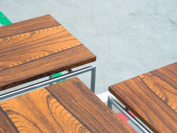 VINTAGE ROSEWOOD SET OF NESTING TABLES