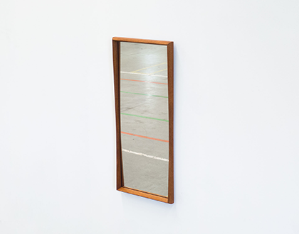 Vintage teak rectangular mirror