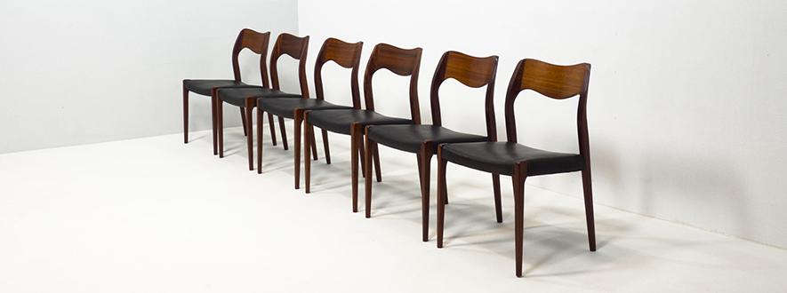 J.L. Møller Møbelfabrik 'Model 71' dining chairs – Arne Hovmand-Olsen