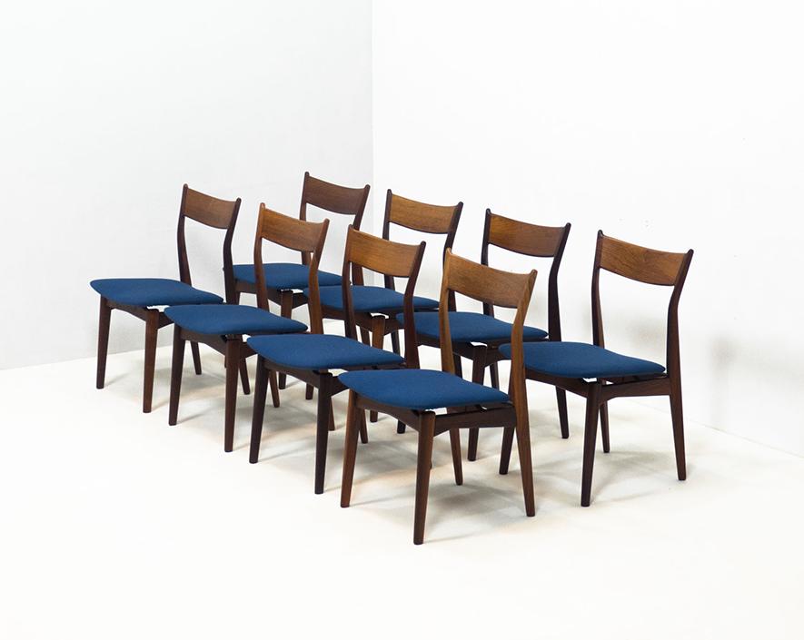 H.P. Hansen Møbelindustri set of eight rosewood dining chairs
