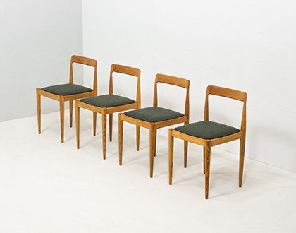 Vintage set of four solid ash wood dining chairs